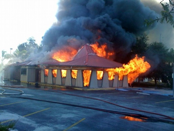 hut in flames