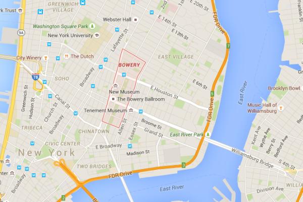 bowery google maps