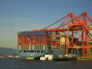 Container ship unloading in Vancouver-8681417896