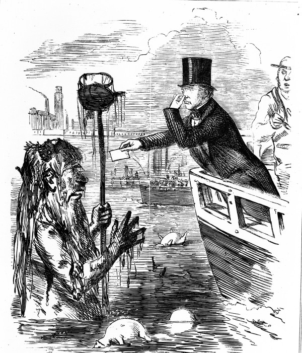 M0012507 Caricature: Faraday giving his card to Father Thames. Credit: Wellcome Library, London. Wellcome Images images@wellcome.ac.uk http://wellcomeimages.org Caricature: Faraday giving his card to Father Thames. 'And we hope the Dirty Fellow will consult the learned Professor.' 1855 Punch Published: 1855 Copyrighted work available under Creative Commons Attribution only licence CC BY 4.0 http://creativecommons.org/licenses/by/4.0/