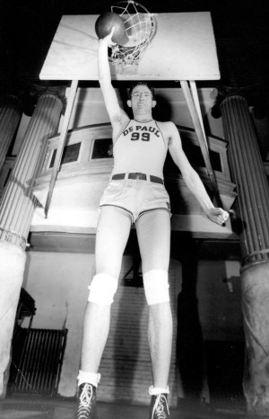 Basketball player George Mikan in 1945 via The Sporting News Archives