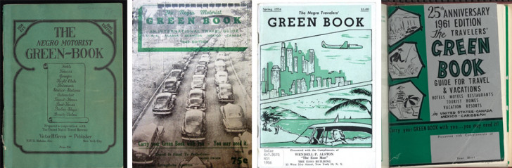 The Travelers' Green Book covers from 1937, 1945, 1956, and 1961 by Victor H. Green & Co.