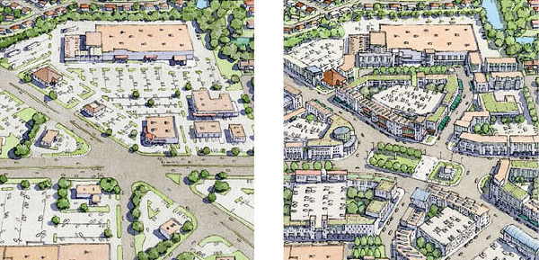 Sprawl repair example via architect and urban designer