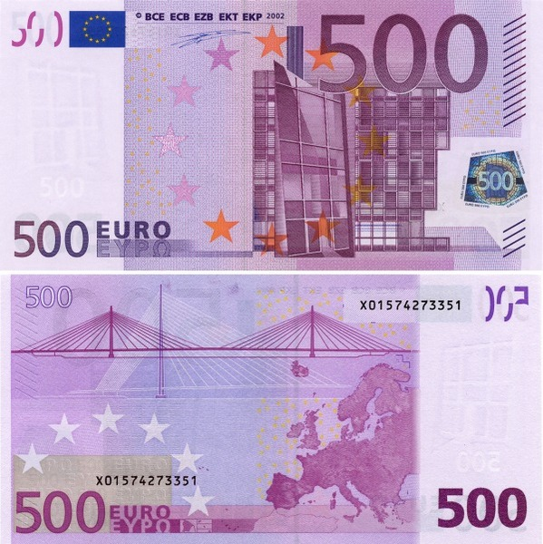 bank note front back euro