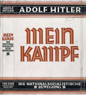 Dust jacket of the book Mein Kampf, written by Adolf Hitler. Courtesy of the New York Public Library Digital Collection.