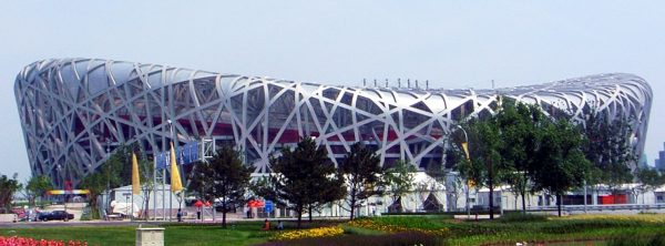 "The Beijing National Stadium, dubbed ""The Bird's Nest"""