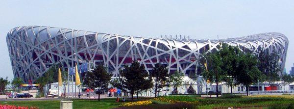 "The Beijing National Stadium, dubbed ""The Bird's Nest"""