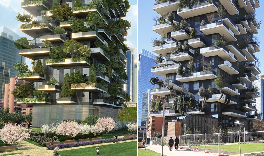 Real Architecture Buildings renderings vs. reality: the improbable rise of tree-covered