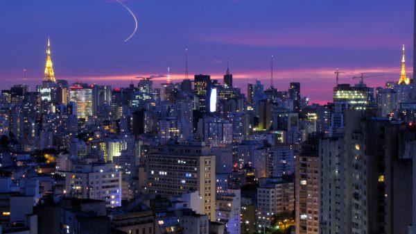 Downtown São Paulo at night by Júlio Boaro