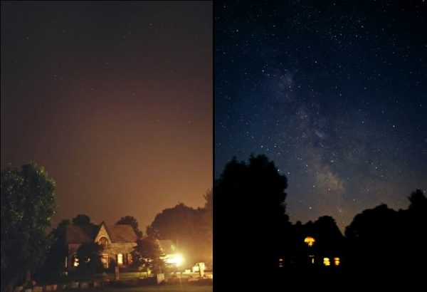 Before and during 2003 blackout in Ontario, Canada, image by Todd Carlson of Sky News