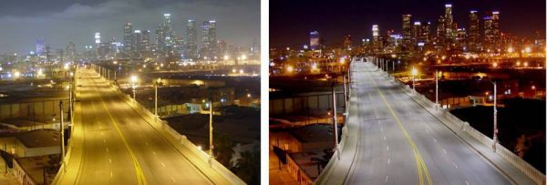 Before and after LED light replacements via the Los Angeles Bureau of Street Lighting