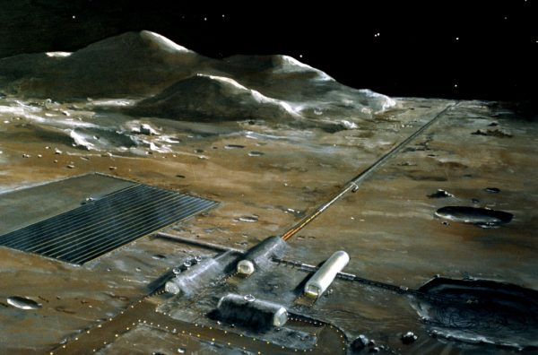 Illustration of a mass driver on the lunar surface
