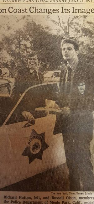New York Times coverage of the Menlo Park Police Department's reforms, 1972. Image courtesy of the Menlo Park Police Department.