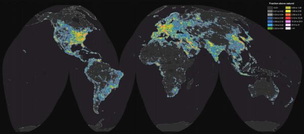 Map of artificial sky brightness versus the natural sky brightness.