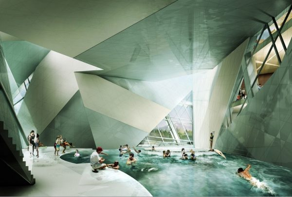 A rendering of the Westside Shopping and Leisure Center in Bern, Switzerland. The building was designed by Studio Daniel Libeskind.