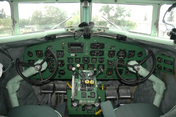 Circular, steering-wheel type yoke in a Lisunov Li-2 (1940s), image by VargaA (GDFL)
