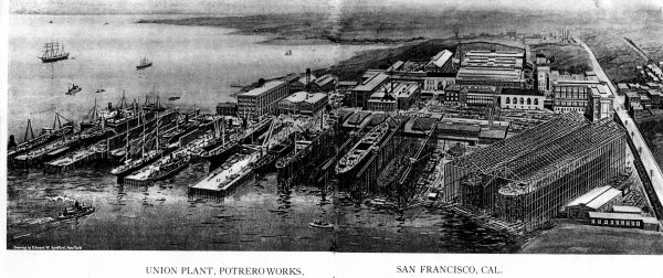 Gold rush era ships docked in San Francisco in 1918