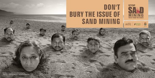 Poster campaign in India to stop illegal sand mining for urban construction in Mumbai via Awaaz foundation