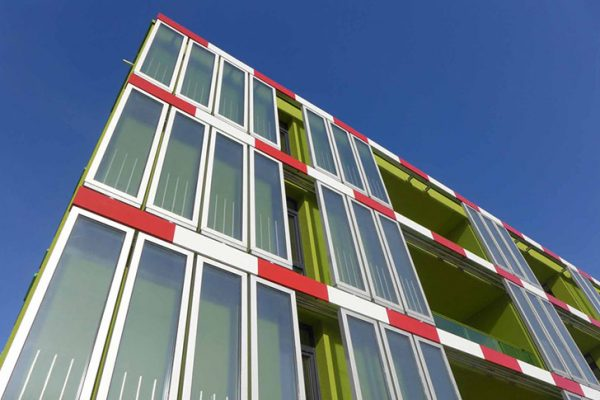BIQ House facade with micro-algal bioreactors in Hamburg, Germany