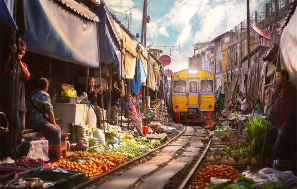 Railway Market: Urban Train Track Doubles as Shopping Alley in Thailand