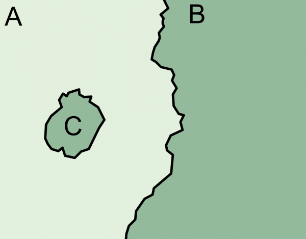 C is A's enclave and B's exclave.