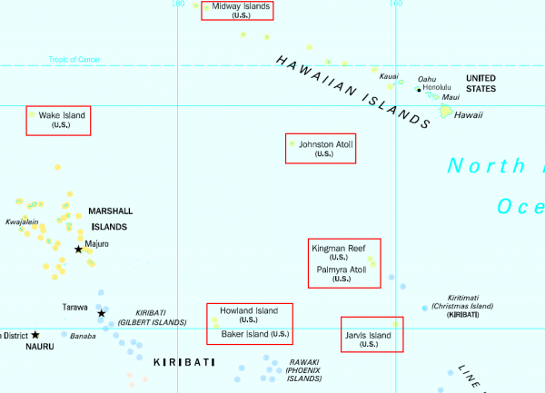 United States Minor Outlying Islands in the Pacific Ocean; note that Navassa Island is not visible on this map.