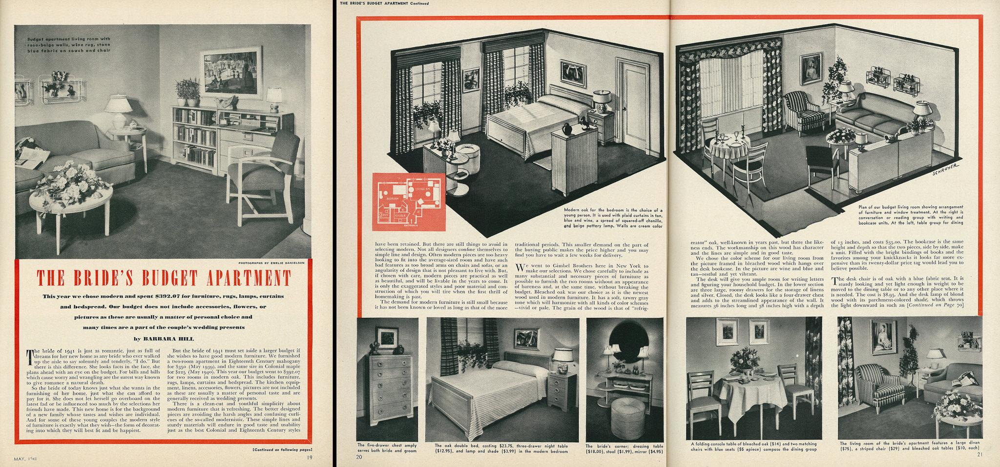 Scan Of A 1941 Womens Day Article Demonstrating Interior Design Solutions For Small Apartment By Classic Film CC BY NC 20