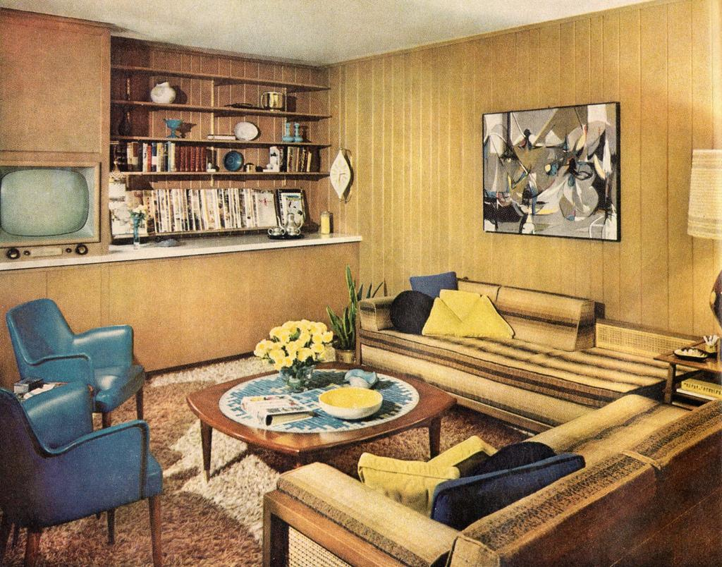 Upper middle class living room - 1958 Interior Featuring Mid Century Modern Furniture By Ethan Cc By 2 0