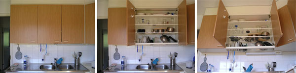 Elegant Typical Finnish Drying Setup With Multiple Shelves Concealed Above The  Kitchen Sink. U201c