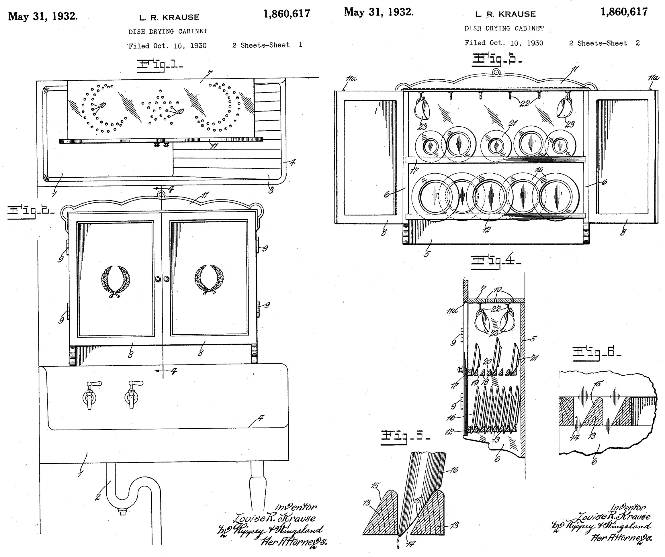 Dish Drying Cabinet Patented By Louise R. Krause (US Patent 1860617)