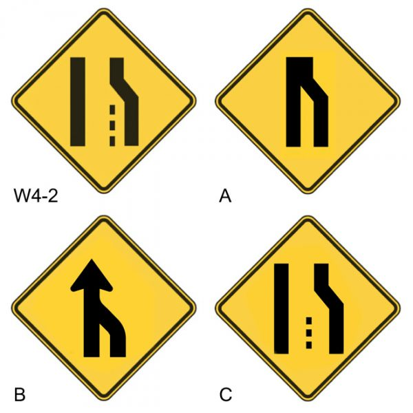 lane ends merge left redesigning the w42 road sign to