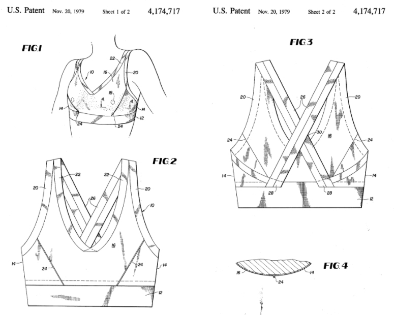 458a39369 Early sports bra patent  athletic brassiere (US 4174717 A)