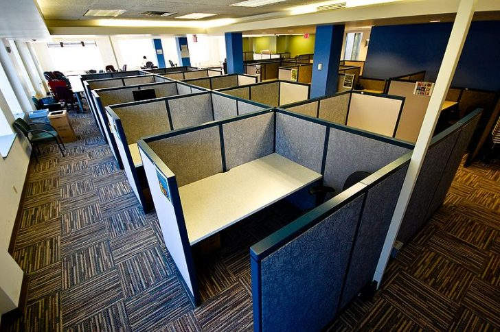 Office space time loop from open plans to cubicle farms for Furniture 99 invisible