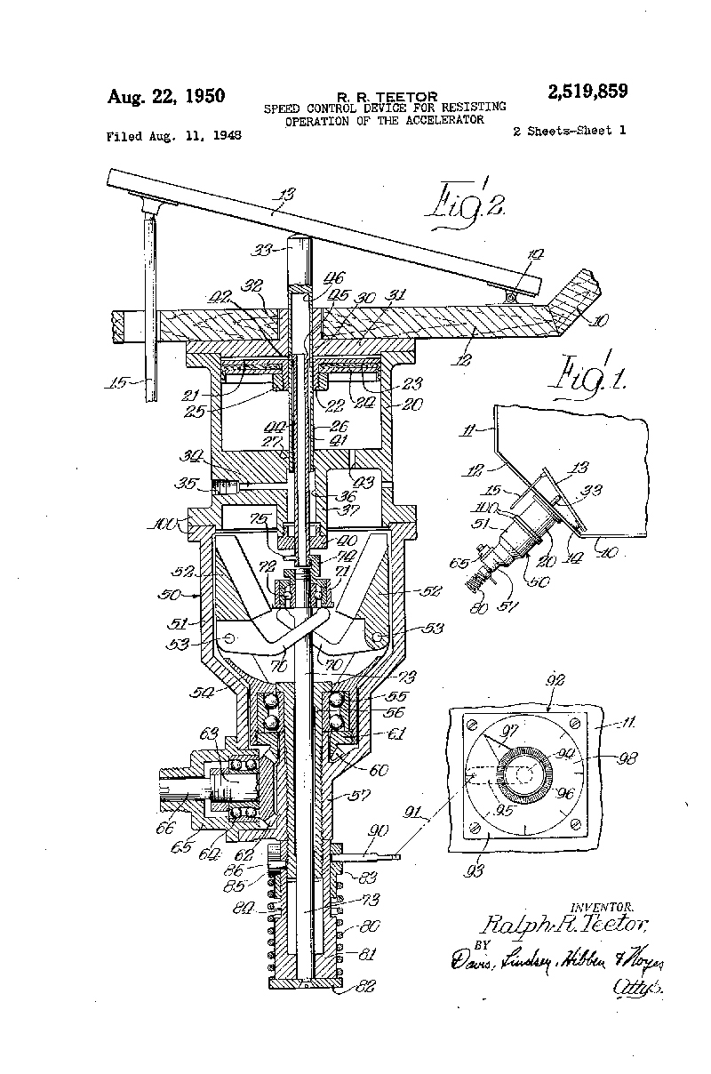 "1950 patent for a ""Speed Control Device For Resisting Operation of the  Accelerator"""